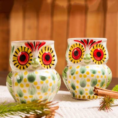 Majolica ceramic mugs, 'Owl Hospitality' (pair) - Artisan Crafted Majolica Ceramic Bird Mugs (Pair)