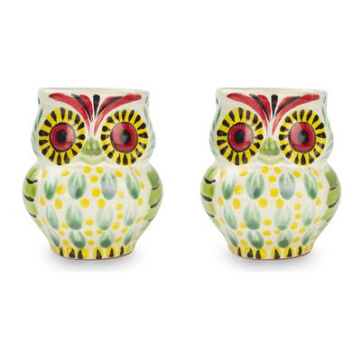 Artisan Crafted Majolica Ceramic Bird Mugs (Pair)
