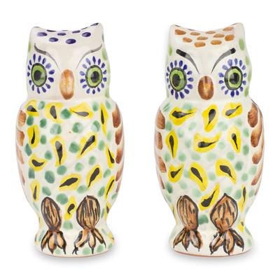 Majolica ceramic salt and pepper shakers, 'Owl Spice' (pair) - Handcrafted Majolica Ceramic Bird Salt & Pepper Shakers