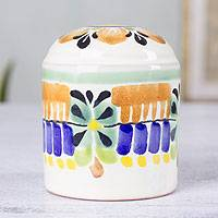Majolica ceramic salt shaker, 'Acapulco' - Authentic Mexican Handcrafted Majolica Ceramic Salt Shaker