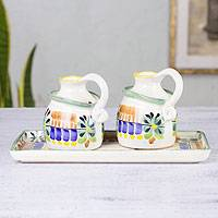 Majolica ceramic oil and vinegar set, 'Acapulco' - Mexican Handcrafted Majolica Ceramic Oil and Vinegar Set