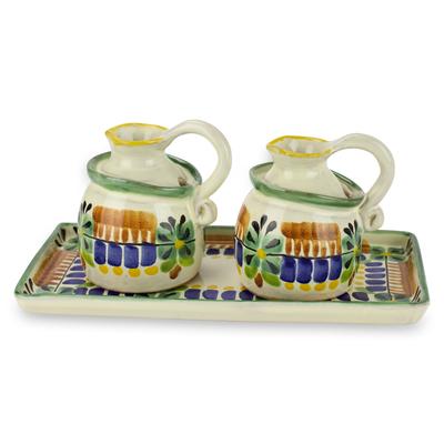 Majolica ceramic oil and vinegar set, 'Acapulco' - Mexican Handcrafted Majolica Ceramic Oil and Vinegar Set