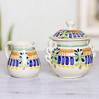 Majolica ceramic sugar and creamer set, 'Acapulco' - Artisan Crafted Majolica Ceramic Sugar and Creamer Set