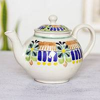 Majolica ceramic teapot, 'Acapulco' - Authentic Mexican Handcrafted Majolica Teapot (20 ounces)