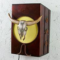 Iron wall lamp, 'Longhorn by Moonlight' - Old West Rustic Cattle Theme Wall Lamp from Mexico