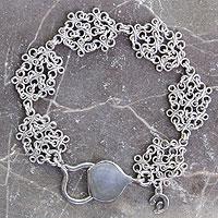 Sterling silver link bracelet, 'Versailles' - Artisan Crafted Sterling Silver Bracelet Chainmail Jewelry
