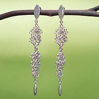 Sterling silver dangle earrings, 'Versailles' - Artisan Crafted Sterling Silver Earrings Chainmail Jewelry