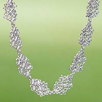 Sterling silver link necklace, 'Versailles' - Artisan Crafted Sterling Silver Necklace Chainmail Jewelry
