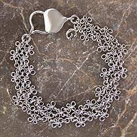 Sterling silver chain bracelet, 'Verona' - Hand Crafted Sterling Silver Chainmail Charm Bracelet