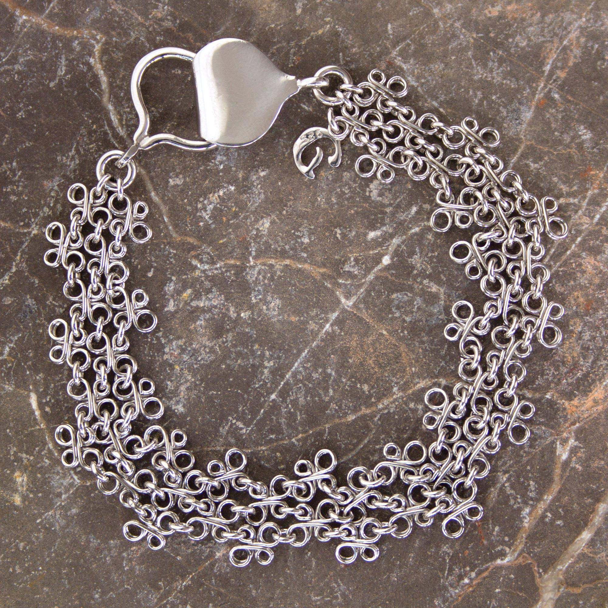 Hand Crafted Sterling Silver Chainmail Charm Bracelet Verona