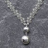 Sterling silver pendant necklace, 'Verona' - Hand Crafted Sterling Silver Chainmail Pendant Necklace