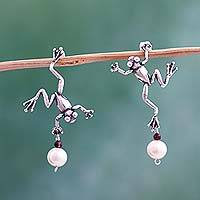 Cultured pearl and garnet button earrings, 'Whimsical Frogs' - Mexican Artisan Silver Earrings with Pearls and Garnet