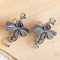 Amethyst button earrings, 'Majestic Dragonflies' - Mexican Hand Crafted Sterling Silver Earrings with Amethyst