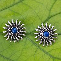 Lapis lazuli button earrings, 'Mexican Suns'