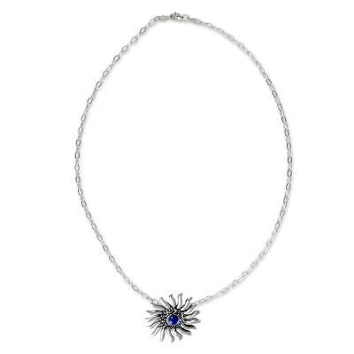 Lapis lazuli pendant necklace, 'Mexican Sun' - Lapis Lazuli and Sterling Silver Artisan Crafted Necklace