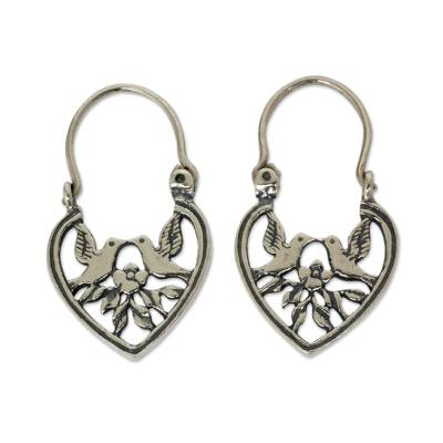 Heart Shaped Silver Hoop Earrings with Birds and Flowers