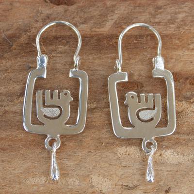 Sterling silver hoop earrings, 'Aztec Dove' - Square Sterling Silver Hoop Earrings with Birds
