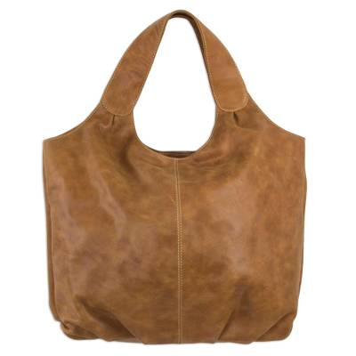 Brown Leather Hobo Handbag Fully Lined with 3 Inner Pockets
