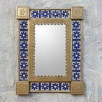 Tin and ceramic wall mirror, 'Mexican Wildflowers' (small) - Hand Crafted Floral Tin Mirror with Talavera Tiles (Small)