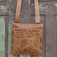 Leather shoulder bag, 'Golden Shadows' - Compact Handcrafted Brown Leather Shoulder Bag
