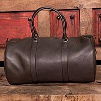 Leather travel bag, 'Journeys in Brown' - Soft Mexican Leather Lined Travel Bag with Internal Pocket