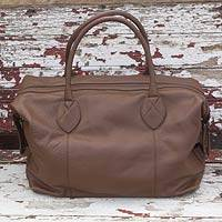 Leather travel bag, 'Let's Go in Brown' - Mexican Brown Leather Travel Bag Lined with Inner Pocket