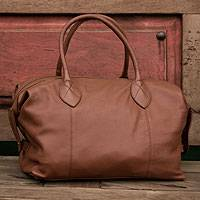 Leather travel bag, 'Let's Go in Camel' - Soft Brown Leather Travel Bag Lined with Internal Pocket