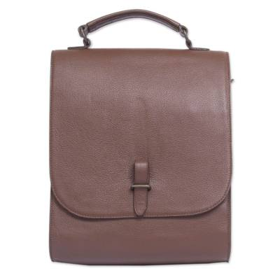 Quality Brown Leather Briefcase with Multiple Pockets