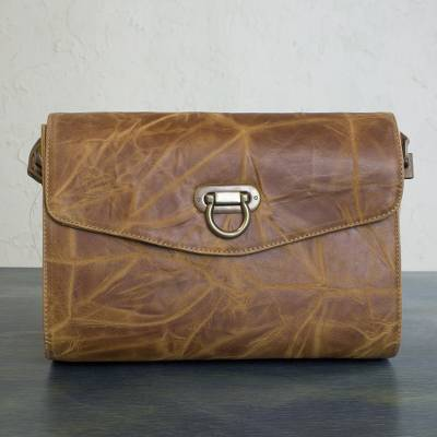 Leather flap shoulder bag, 'Diva' - Handmade Golden Brown Leather Shoulder Bag with Flap