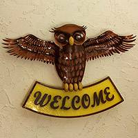 Iron welcome sign, 'Welcoming Owl' - Artisan Crafted Iron Wall Welcome Sign from Mexico