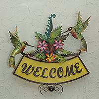 Iron welcome sign, 'Happy Hummingbirds' - Iron Birds and Flowers on Hand Crafted Welcome Sign