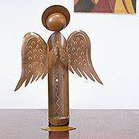 Iron candleholder, 'Guardian Angel' - Handcrafted Mexican Angel Iron Sculpture Candleholder
