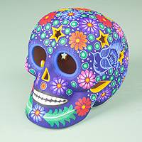 Ceramic sculpture, 'Deadly Beauty' - Colorful Ceramic Day of the Dead Skull Sculpture from Mexico