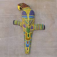 Ceramic wall sculpture, 'Mexican Macaw' - Hand Painted Ceramic Bird Wall Sculpture from Mexico