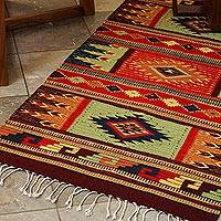 Zapotec wool rug, 'Prairie Stars' (2.5x5) - Authentic Zapotec Organic Dyes Handwoven Wool Rug (2.x5)