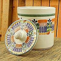 Majolica ceramic cookie jar, 'Acapulco' - Mexican Hand Crafted Majolica Ceramic Floral Cookie Jar