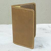 Leather passport case, 'Honey Brown' - Honey Brown Leather Passport Case Handcrafted in Mexico