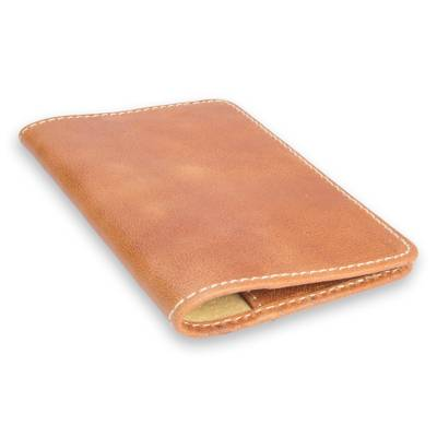 Honey Camel Brown Leather Passport Case Handmade in Mexico