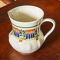 Majolica ceramic pitcher, 'Acapulco' - Mexican Hand Crafted Majolica Ceramic Floral Pitcher