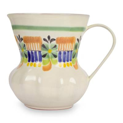 Mexican Hand Crafted Majolica Ceramic Floral Pitcher