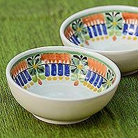 Majolica ceramic bowls, 'Acapulco' (pair) - Hand Crafted Ceramic Bowls Talavera Majolica Pottery (Pair)