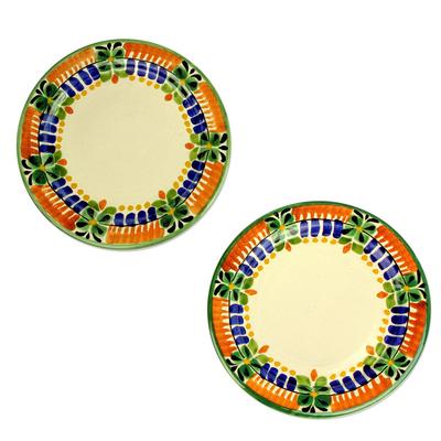 Majolica ceramic dessert plates, 'Acapulco' (pair) - Artisan Crafted Majolica Ceramic Dessert Plates (Pair)