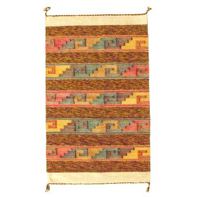 Zapotec wool rug, 'Sky Stairway' (2x3.5) - Fair Trade Hand Woven Wool Rug with Zapotec Glyphs (2x3.5)