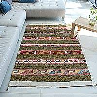 Zapotec wool rug, 'Joyful Geometry' (4x6.5)