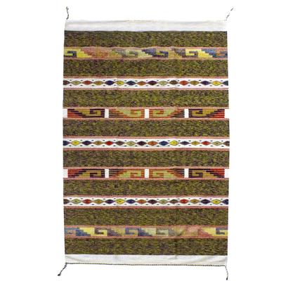 Zapotec wool rug, 'Joyful Geometry' (4x6.5) - Warm Brown Zapotec Wool Area Rug (4x6)