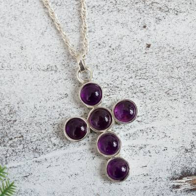 Amethyst cross necklace, 'Spiritual Serenity' - Artisan Crafted Amethyst Cross on Mexican Silver Necklace