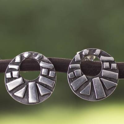 Sterling silver button earrings, 'Circle of Prosperity' - Modern Sterling Silver Earrings with Antiqued Finish
