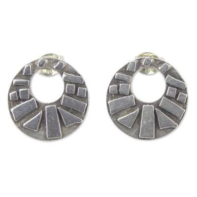 Modern Sterling Silver Earrings with Antiqued Finish
