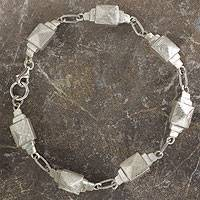 Sterling silver link bracelet, 'Palenque' - Sterling Silver Bracelet with Pyramidal Links from Mexico