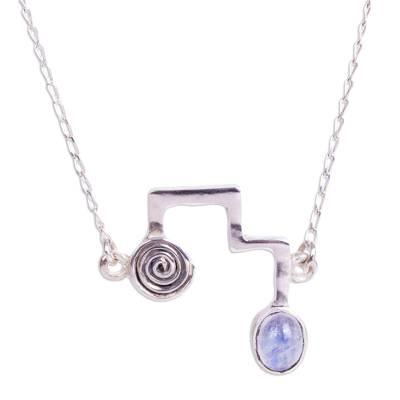 Sterling Silver Necklace with Modern Labradorite Pendant